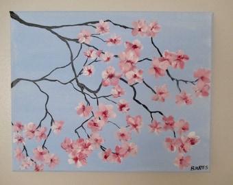 "Cherry Blossom Original Artwork 10X8"" Handmade Acrylic Painting"
