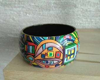 Decoupage Wooden Bracelet, Colorful Bracelet in the Hundertwasser Style, Wood Art Deco Handmade Bangle