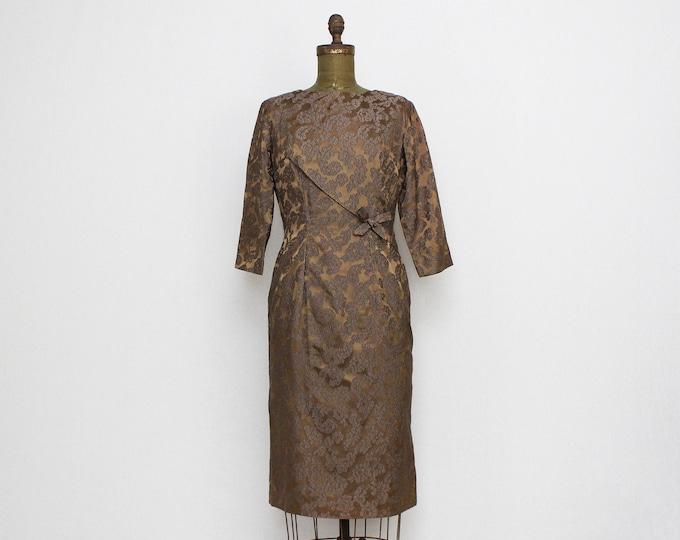 Vintage 1950s Mocha Jacquard Lace Cocktail Dress - Size Small