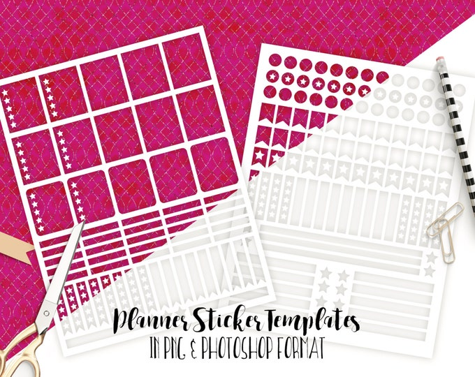 PLANNER STICKER TEMPLATES Commercial Use Blank Diy Sticker Templates Ec Life Planner Digital Stickers Erin Condren Templates Photoshop & Png