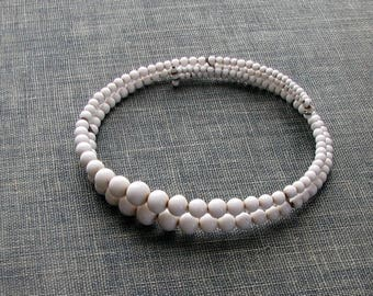 vintage milk glass memory wire choker necklace . white beaded necklace, mid century fashion