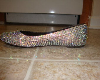 Embellished Crystal Clear AB Ballet Flats