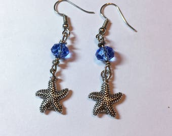 Starfish with Swarovski Crystal Earrings, Earrings for Women, Dangle Earrings, Silver Plated Starfish, French Wire Earrings