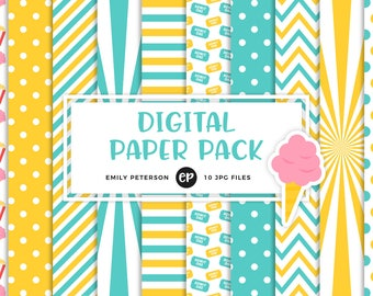 50% OFF SALE! Carnival Digital Paper, Circus Background Paper - Commercial Use, Instant Download - V3