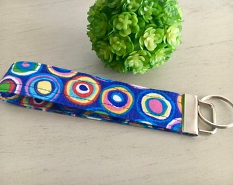 Blue Wristlet Keychain, Wristlet Keychain, Wristlet Key Fob, Blue Keychain, Colorful Keychain, Circles, Gift for Her, Gift for Mom, Gift