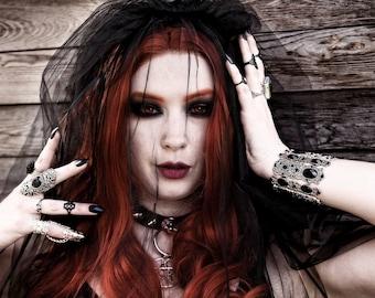 Spiky Sword 666 666 silver black vegan leather necklace