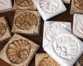 Plaster Rosette Corner Blocks with Shell Pattern