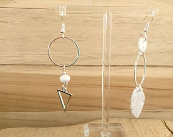 White asymmetrical TRIANGLE creapam polymer clay earrings