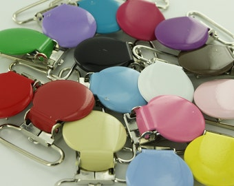 25 Mix of Colors Blemished Enamel Clips 1 inch Round Metal Pacifier Clips / Suspender Clips....MONDAY MIX-up MADNESS