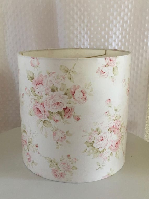 Shabby cottage chic floral drum lampshade pink floral lamp like this item mozeypictures Gallery