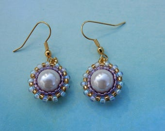Pearl Bead Work Earrings