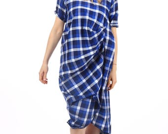 Vintage full length navy blue and white gingham dress/Short sleeve checkered Ankle length dress/Casual cotton dress/Plus Size Maxi Dress 085