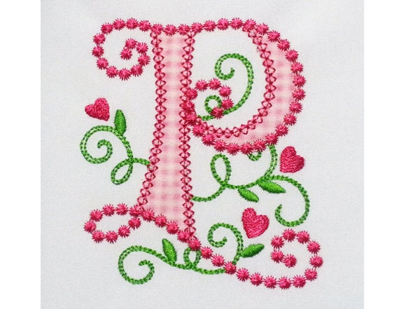 Cute Letter P Alphabet For Lil Princess Hearts Applique Embroidery Design Monogram Initials Valentines Day AppliqueDL055 From EmbroideryLand On Etsy Studio