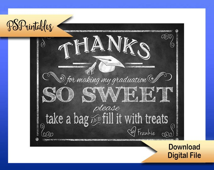 Presonalized Graduation Thank you Sign, Printable Graduation sign, graduation candy bar sign, printable grad sign, DIY graduation decor