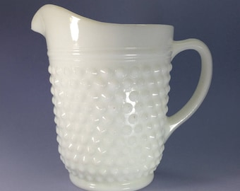 Hobnail Pattern Milk Glass Pitcher - Opaque White - Vintage Vase - 1950s 1960s - Retro Kitchen Kitchenware - Drinks Serving Container