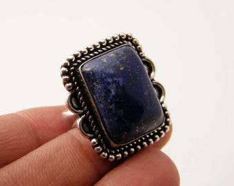 Natural Lapis Ring, Silver Overlay Handmade Ring, Blue Gemstone Ring, Silver plated Lapis Lazuli Ring, Handmade Ring, Ring Size-9 SH-7090