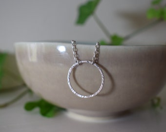 The Aurora | Simple Everyday Circle Necklace | Textured Ring Pendant | Unique Hammered Texture | 925 Sterling Silver and Handmade