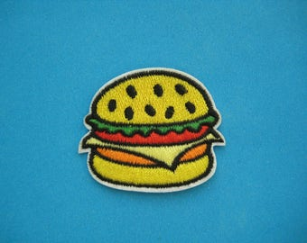 SALE~ 2 pcs Iron-on Embroidered Patch Hamburger 2 inch