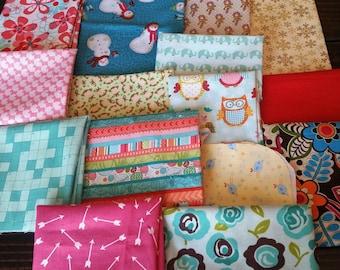 Sale!!! Fabric Scraps, Destash, Remnants,100% Cotton, 15 Pieces, Perfect for Quilting, Apparel, Home Decor, Crafts, 1/2 Pound, Assortment