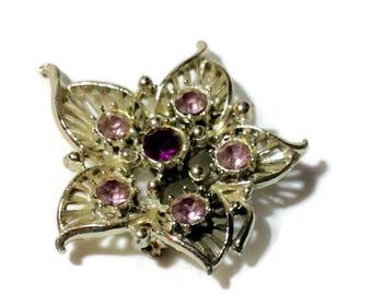 Vintage Purple Rhinestone Leaf Pin