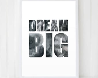 Black map watercolor world map world map poster large world watercolor quote dream big motivational poster black white art quote art gumiabroncs Choice Image