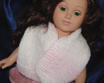 """18 Inch Doll Shawl in Light Pink and White - For 18"""" Doll - American Made - Girl Doll Clothes - Knit Doll Clothes"""