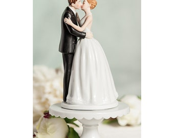 Romance Kissing Couple Wedding Cake Topper - Custom Painted Hair Color Available - 103569