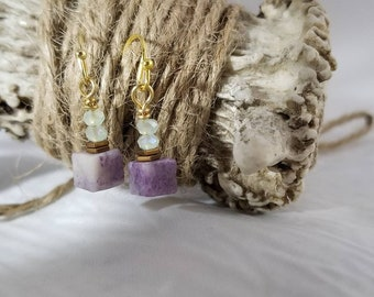 Chinese Charoite, Hematite and Green Chinese Crystal dangle earrings