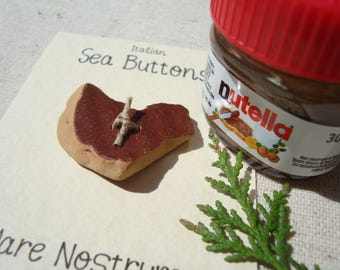 Heart of Nutella – Italian Sea button – DIY handmade button of genuine Sea Pottery – knitting – knitting – the Art of recycling
