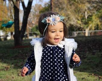 Felt Flower Headband / Blue Eyed Daisy Mini Crown / Comfortable headband / Flower Crown