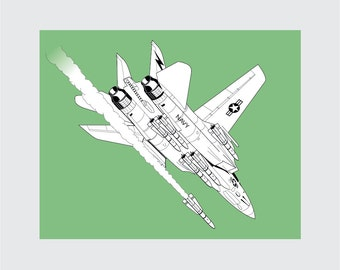 F-14 kater Art Print, 8 x 10 afdrukbare, straaljager, Instant Download, Digital
