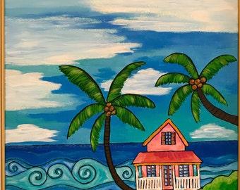 Beach Life, Original Acrylic Painting On Canvas. Caribbean House. Whimsical painting.