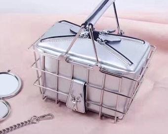 Metal wire basket handbag