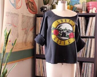 "vintage 1987 Guns N Roses sweatshirt . distressed Appetite for Destruction shirt 80s . Guns N Roses was here . 48"" chest xl xxl GNR"