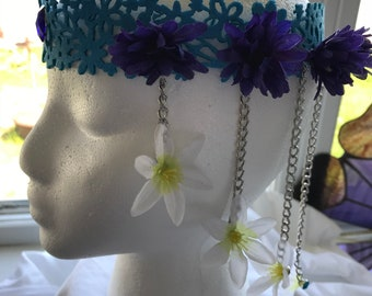 Blue and white headband headdress . Tie in the back for fit and comfortability