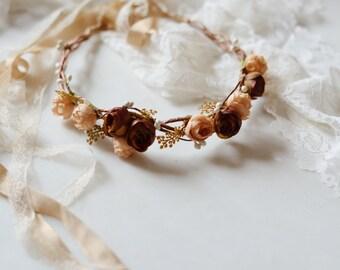 Rustic fall flower crown, autumn hair wreath, woodland circlet, fall headpiece, fall hair accessories, flower hair wreath, woodland wedding