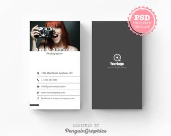 Business card template. Photography business card. Marketing & stationary card. Editable PSD photoshop files for instant download. BCT008