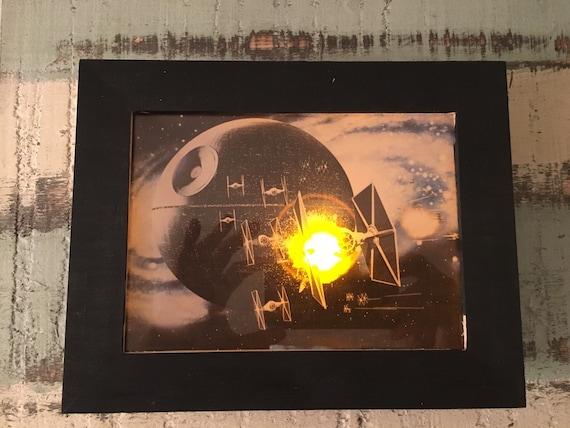 Star Wars Light Up Art Print In 5x7 Shadow Box Frame Wall