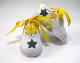 Girl's Team Sports Shoes, Custom Colors Star Sneakers, Hand Painted for Baby or Toddler
