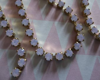 3mm Rose Pink Opal Rhinestone Chain - Brass Setting - Czech Crystals