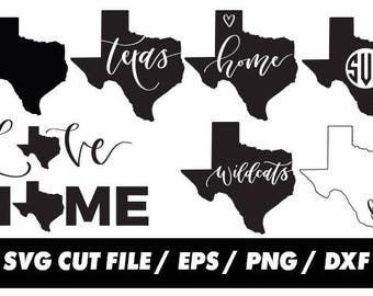 Texas SVG, States, United States clipart, Wildcats svg, USA clipart, monogram frame silhouette svg eps png dxf Cut Print Mug Shirt Decal