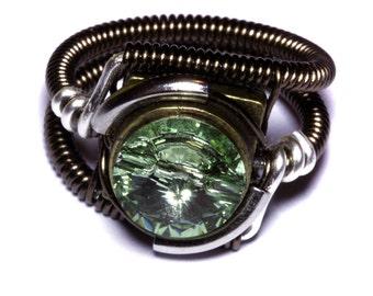 Steampunk Jewelry - Ring - Chrysolite Green Swarovski Crystal