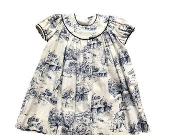 Rts 5T girls dress. READY TO SHIP. White and navy