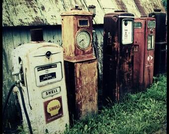 Old Gas Pumps, Garage Decor, Man Cave, Antique Gas Pumps, Shell, Filling station, Gift for Him, Wall Art, Gasoline Pump