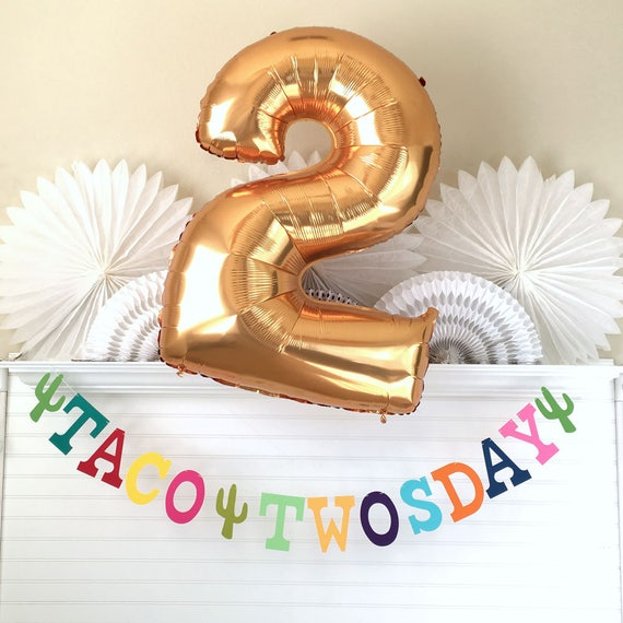Taco twosday banner 5 inch letters fiesta birthday banner taco party garland fiesta party decorations 2nd birthday balloon two sign