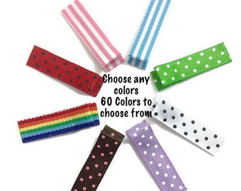 25 MINI Stripes & Dots Lined 35mm Single Prong Alligator Clips, No Slip Hair Clips, Ribbon Lined Clips, Dot Lined Clips, Stripe Lined Clips