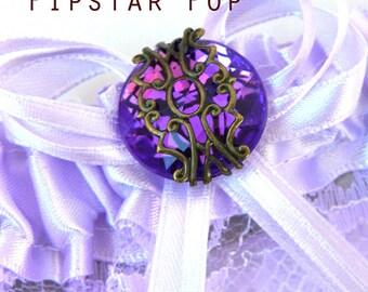Lavender Garter with Royal Purple gem - Fantasy fun wedding bridal garter (6 garter color, 12 gem color option) Gothic Victorian