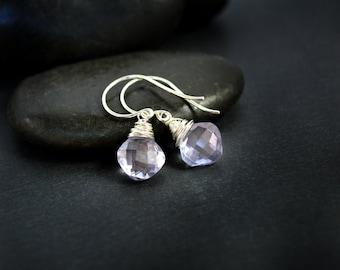 Blue Quartz Earrings, Mystic Blue Cushion Cut Quartz Earrings, Silver Earrings, Diamond Shaped Blue Quartz Earrings, Blue Earrings, Blue Gem