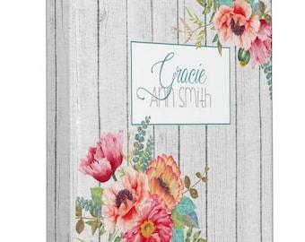 Poppies 3 ring Binder, Custom name on binder, baby book binder