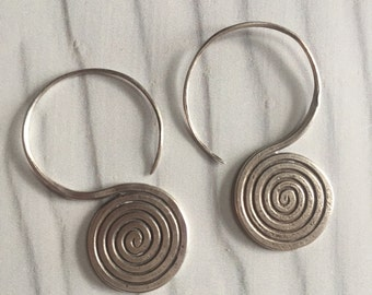Spiral silver earrings, boho spiral earrings, big spiral earrings, spiral hoops earrings
